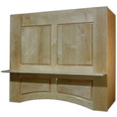 Baxter Arched Wall Mount Range Hood with Liner for Broan Ventilation, Available in Multiple Wood Species & Sizes