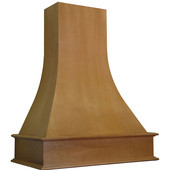 Artisan Wood Wall Chimney Range Hood, Available in Multiple Wood Species & Sizes