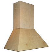 Euro Straight Wall Mount Range Hood with Liner for Broan Ventilation,  Available in Multiple Wood Species & Sizes