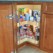 Easy Access Corner Pantry, Double Shelf Unit with 2 Full Extension Drawers