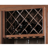 Cabinet Mounted Wine Bottle Lattice with Inverted Edges, Red Oak, 17''W x 36''H