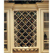 Premium Wood Cabinet Mount Wine Bottle Lattice, 18 Bottle Capacity, 24'' W x 30'' H, Maple Unfinished Wood
