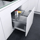 ''ENVI Space Pro'' Easy Close Waste Basket Pull-Out, for 562mm Cabinet, 2 Bins, Grey Bins, Min. Cabinet Opening: 22-1/8'' Wide