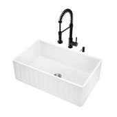 All-In-One 30'' Matte Stone Farmhouse Kitchen Sink Set with Edison Faucet in Matte Black, 30'' W x 18'' D x 9-5/8'' H