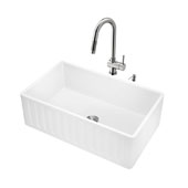 All-In-One 30'' Matte Stone Farmhouse Kitchen Sink Set with Gramercy Faucet in Stainless Steel, 30'' W x 18'' D x 9-5/8'' H