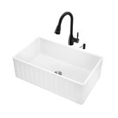 All-In-One 30'' Matte Stone Farmhouse Kitchen Sink Set with Graham Faucet in Matte Black, Strainer and Soap Dispenser
