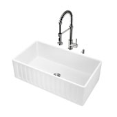 All-In-One 33'' Matte Stone Farmhouse Kitchen Sink Set with Edison Faucet in Stainless Steel, 33'' W x 18'' D x 9-5/8'' H