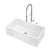 All-In-One 33'' Matte Stone Farmhouse Kitchen Sink Set with Laurelton Faucet in Chrome, Strainer and Soap Dispenser