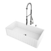 All-In-One 36'' Matte Stone Farmhouse Kitchen Sink Set with Zurich Faucet in Stainless Steel, 36'' W x 18'' D x 9-5/8'' H