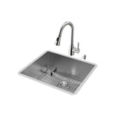 Ludlow Collection Undermount Kitchen Sink, 15-3/4''H Faucet, Grid, Strainer and Dispenser, Stainless Steel Finish, 23''W x 20''D