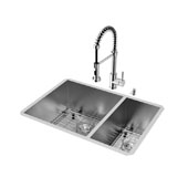 Endicott Collection Undermount Kitchen Sink, Faucet, Two Grids, Two Strainers and Dispenser, Stainless Steel Finish, 29''W x 20''D