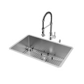 Mercer Collection Undermount Kitchen Sink, Faucet, Grid, Strainer and Dispenser, Stainless Steel Finish, 30''W x 19''D