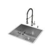 Ludlow Collection Undermount Kitchen Sink, 18-3/4''H Faucet, Grid, Strainer and Dispenser, Stainless Steel Finish, 23''W x 20''D