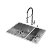 29'' Undermount Kitchen Sink, 18-3/4''H Faucet, Grid, Two Strainers and Dispenser, Stainless Steel Finish