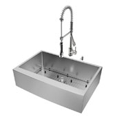 Bedford Collection Farmhouse Kitchen Sink, 27''H Faucet, Grid, Strainer and Dispenser, Stainless Steel Finish, 33''W x 22-1/4''D