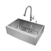 Bedford Collection Farmhouse Kitchen Sink, 16-1/2''H Faucet, Strainer and Dispenser, Stainless Steel Finish, 33''W x 22-1/4''D