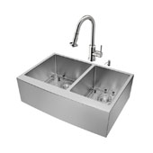 Bingham Collection Farmhouse Kitchen Sink, 16-1/2''H Faucet, Two Strainers and Dispenser, Stainless Steel Finish, 33''W x 22-1/4''D