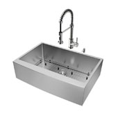 Bedford Collection Farmhouse Kitchen Sink, 18-3/4''H Faucet, Grid, Strainer and Dispenser, Stainless Steel Finish, 33''W x 22-1/4''D