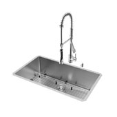 Mercer Collection VIG-VG15164, All in One 32-inch Undermount Stainless Steel Kitchen Sink and Chrome Faucet Set , 16 Gauge, 32''W x 19''D x 10'' H, Stainless Steel/Chrome