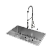 32'' All in One Undermount Stainless Steel Kitchen Sink and Faucet Set , 16 Gauge