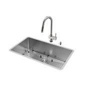 Mercer Collection VIG-VG15166, All in One 32-inch Undermount Stainless Steel Kitchen Sink and Faucet Set , 16 Gauge, 32''W x 19''D x 10'' H, Stainless Steel