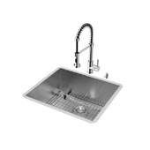 Ludlow Collection VIG-VG15168, All in One 23-inch Undermount Stainless Steel Kitchen Sink and Chrome Faucet Set , 16 Gauge, 23''W x 20''D x 10-1/4'' H, Stainless Steel/Chrome