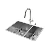 Endicott Collection VIG-VG15182, All in One 29-inch Undermount Stainless Steel Double Bowl Kitchen Sink and Faucet Set, 16 Gauge, 29''W x 20''D x 10'' H, Stainless Steel