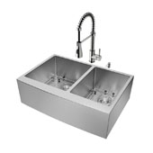 Bingham Collection All in One 33'' Farmhouse Stainless Steel Double Bowl Kitchen Sink and Faucet Set, VIG-VG15210