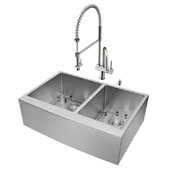 Bingham Collection All in One 33'' Farmhouse Stainless Steel Double Bowl Kitchen Sink and Faucet Set, VIG-VG15211