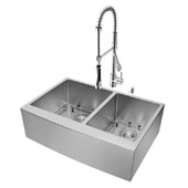 Bingham Collection All in One 33'' Farmhouse Stainless Steel Double Bowl Kitchen Sink and Chrome Faucet Set, VIG-VG15212