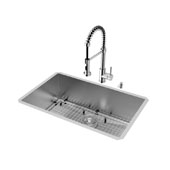 Ludlow Collection VIG-VG15243, All in One 30-inch Undermount Stainless Steel Kitchen Sink and Chrome Faucet Set , 16 Gauge, 30''W x 19''D x 10'' H, Stainless Steel/Chrome