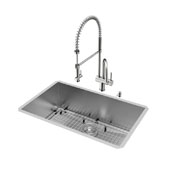 30'' All in One Undermount Stainless Steel Kitchen Sink and Faucet Set , 16 Gauge
