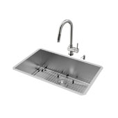 Ludlow Collection VIG-VG15246, All in One 30-inch Undermount Stainless Steel Kitchen Sink and Faucet Set , 16 Gauge, 30''W x 19''D x 10'' H, Stainless Steel