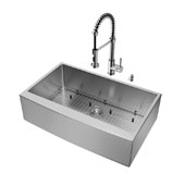 Bedford Collection All in One 36'' Farmhouse Stainless Steel Kitchen Sink and Faucet Set, VIG-VG15255