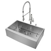 Bedford Collection All in One 36'' Farmhouse Stainless Steel Kitchen Sink and Faucet Set, VIG-VG15257