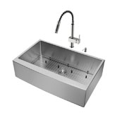 Bedford Collection All in One 36'' Farmhouse Stainless Steel Kitchen Sink and Faucet Set, VIG-VG15259