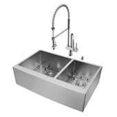 36'' All in One Farmhouse Stainless Steel Double Bowl Kitchen Sink and Faucet Set, VIG-VG15268