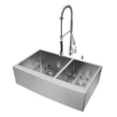 Bingham Collection All in One 36'' Farmhouse Stainless Steel Double Bowl Kitchen Sink and Chrome Faucet Set, VIG-VG15269