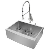 Bedford Collection All in One 30'' Farmhouse Stainless Steel Kitchen Sink and Faucet Set, VIG-VG15274
