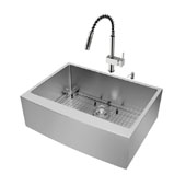Bedford Collection All in One 30'' Farmhouse Stainless Steel Kitchen Sink and Faucet Set, VIG-VG15277