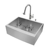 Bedford Collection All In One 30-Inch Farmhouse Stainless Steel Kitchen Sink And Faucet Set