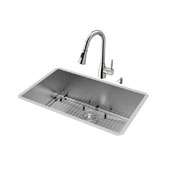 Ludlow Collection VG15295, All in One 30'' Undermount Stainless Steel Kitchen Sink and Faucet Set