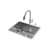 Ludlow Collection #VIG-VG15347 Stainless Steel 23''W x 18''D Undermount Kitchen Sink Set Including Chrome 15-1/8''H x 8-3/4''Reach Faucet, Grid, Strainer, and Soap Dispenser