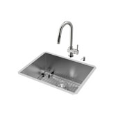 Ludlow Collection #VIG-VG15351 23''W x 18''D Stainless Steel Undermount Kitchen Sink Set including matching 17''H x 7-7/8''Reach Faucet, Grid, Strainer, and Soap Dispenser