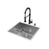 All-In-One 23'' x 20'' Ludlow Stainless Steel Undermount Kitchen Sink Set with Edison Faucet in Matte Black, Grid, Strainer and Soap Dispenser