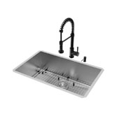 All-In-One 30'' Ludlow Stainless Steel Undermount Kitchen Sink Set with Edison Faucet in Matte Black, Grid, Strainer and Soap Dispenser