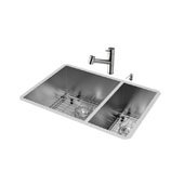 All-In-One 29'' Endicott Stainless Steel Double Bowl Undermount Kitchen Sink Set with Branson Faucet in Stainless Steel, Two Grids, Two Strainers and Soap Dispenser