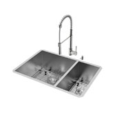 All-In-One 29'' Endicott Stainless Steel Double Bowl Undermount Kitchen Sink with Laurelton Faucet in Stainless Steel, Two Grids, Two Strainers and Soap Dispenser