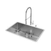 All-In-One 30'' Mercer Stainless Steel Undermount Kitchen Sink Set with Laurelton Faucet in Chrome, 30'' W x 19'' D x 10'' H