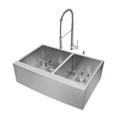 All-In-One 33'' Bingham Stainless Steel Double Bowl Farmhouse Kitchen Sink Set with Laurelton Faucet in Chrome, 33'' W x 22-1/4'' D x 9-7/8'' H